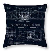 Wright Bros Flyer Aeroplane Blueprint  1903 Throw Pillow