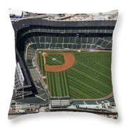 Wrigley Field In Chicago Aerial Photo Throw Pillow