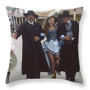 Wyatt Earp  Doc Holiday Escort  Woman  With O.k. Corral In  Background 2004 Throw Pillow