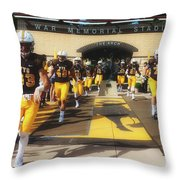 Wyoming Cowboys Entering The Field Throw Pillow