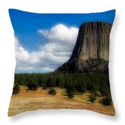 Wyoming's Devil's Tower Throw Pillow