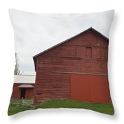 Ye Old Red Barn Throw Pillow