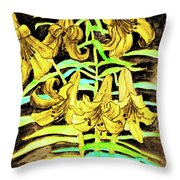 Yellow Lilies, Hand Drawn Painting Throw Pillow