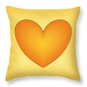 Yellow Love Heart 3 Throw Pillow