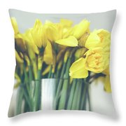 Yellow Narcissuses Bouquet In A Glass Vase Throw Pillow