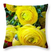 Yellow Ranunculus Throw Pillow