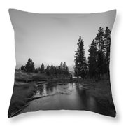 Yellowstone National Park Sunset And Moon Throw Pillow