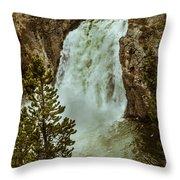 Yellowstone Upper Falls Throw Pillow