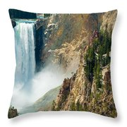 Yellowstone Waterfalls Throw Pillow