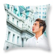 Young American Businessman Looking For Success. Throw Pillow