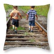 Young Boys On Railway Tracks Throw Pillow
