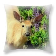 Young Buck Among The Lupin Throw Pillow