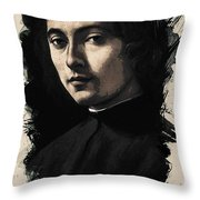Young Faces From The Past Series By Adam Asar, No 9 Throw Pillow