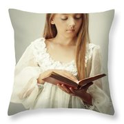 Young Girl Reading A Book Throw Pillow