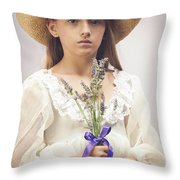 Young Girl With Lavender Throw Pillow