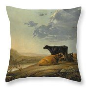 Young Herdsmen With Cows Throw Pillow