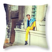 Young Man Relaxing On Street Throw Pillow
