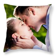 Young Romantic Couple Kissing With Love In Summer Park Throw Pillow