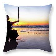 Young Samurai Women With Japanese Katana Sword At Sunset On The Beach Throw Pillow
