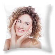 Young Smiling Woman With Curly Hair Portrait On White Throw Pillow