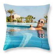 Young Woman Enjoying Warm Water In Pool Throw Pillow