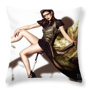 Young Woman In Long Dress On Exercise Bike Throw Pillow