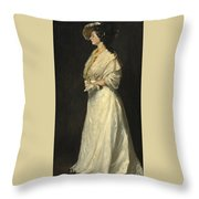 Young Woman In White Throw Pillow