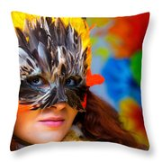Young Woman With A Colorful Feather Carnival Face Mask On Bright Colorful Background Eye Contact Throw Pillow