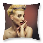 Young Woman With Glittered Fingers And Lips Throw Pillow