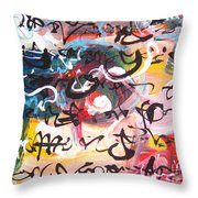 Abstract Calligraphy Throw Pillow