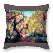 10 Abstract Japanese Maple Tree Throw Pillow