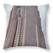 Atlanta Downtown Skyline Scenes In January On Cloudy Day Throw Pillow