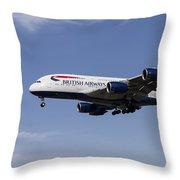 British Airways Airbus A380 Throw Pillow