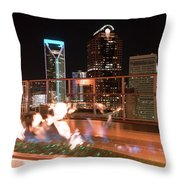 Charlotte North Carolina Skyline View At Night From Roof Top Res Throw Pillow