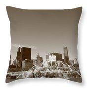 Chicago Skyline And Buckingham Fountain Throw Pillow