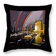 Docklands Double Rainbow Throw Pillow