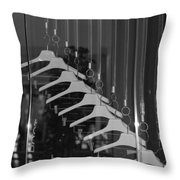 10 Hangers In Black And White Throw Pillow