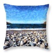 Livada Beach Throw Pillow