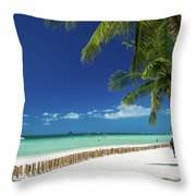 Main Beach Of Tropical Paradise Boracay Island Philippines Throw Pillow