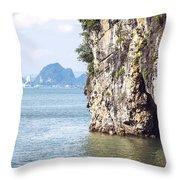 Picturesque Sea Landscape. Ha Long Bay, Vietnam Throw Pillow