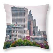 Providence Rhode Island City Skyline In October 2017 Throw Pillow