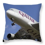 Qatar Airlines Airbus A380 Throw Pillow