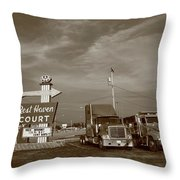 Route 66 - Rest Haven Motel Throw Pillow