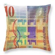 10 Swiss Franc Pop Art Bill Throw Pillow