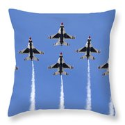 Us Air Force Thunderbirds Flying Preforming Precision Aerial Maneuvers Throw Pillow