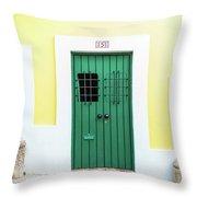 Wooden Door In Old San Juan, Puerto Rico Throw Pillow