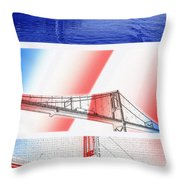 1000 Island International Bridge Triptych Throw Pillow