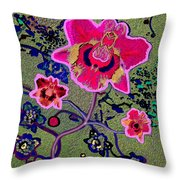 1046 - Pink Flower Simple Greeting Card   A Throw Pillow