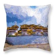 108 Stupas Throw Pillow