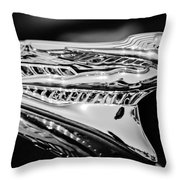 1946 Desoto Hood Ornament -169bw Throw Pillow